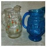 2 Glass Pitchers - Blue Floral & Clear Red Roses