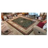 Large Green, Maroon and Beige Area Rug