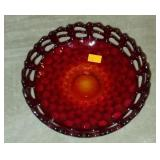 Stunning Amberina Open Lace Glass Bowl