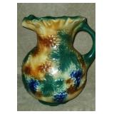 Vintage Handpainted Floral Grape Pottery Pitcher