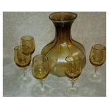Amber Colored Blown Glass Vase & Glasses