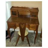 Beautiful vintage style wood desk with stool