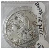 1874 Carson City Trade Dollar Coin