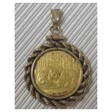 2013 Chinese Gold Coin with Sterling Trim Pendant