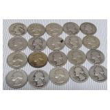 Lot of 20 various dates silver quaters