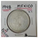 1948 Mexico Five Cinco Pesos Coin