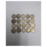 Lot of 20 silver mercury dimes
