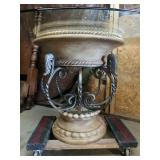 Nice Modern Grecian Style Glass Top Iron Table