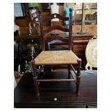 Vintage Childs Antique Chair with Rush Seat