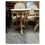 Round Victorian Style Marble Top End Table