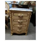 Victorian Style Marble Top 4 Drawer Bedside Table