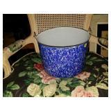 Large Blue Splattered Enamel Cooking Pot