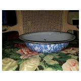Large Blue Splattered Enamel Cooking Bowl