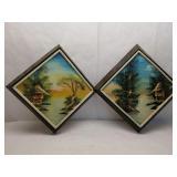Set of 2 Wooden Framed 3D Asian Paintings