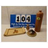 4 Misc Vintage Pcs, Hummel, Bottle, Tray, and etc