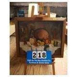 Framed oRIGINAL Large oil on canvas table setting