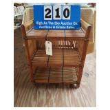 Bamboo Hand Woven End Table with Shelves