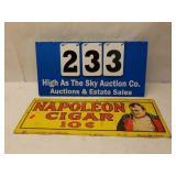 Vintage 1974 Metal Napoleon 10 cent Cigar Sign