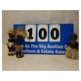 Lot of 3 Black Americana Dolls with Real Fur