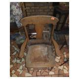 Antique Oak Leather Chair