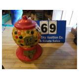 Vintage Chalkware 1 cent Bank RARE