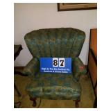 Beautiful Blue & Green Upholstered Arm Chair