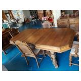 Beautiful  Carved Wood Dining Table & 4 Chairs