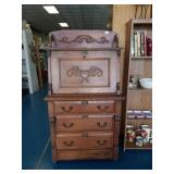 Beautiful Antique English Oak Secretary with Key