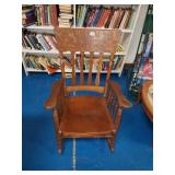 Beautiful Tiger Oak Wooden Rocking Chair
