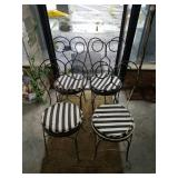 Set of 4 Vintage Black & White Iron Parlor Chairs