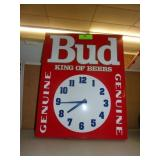 "Metal Bud Light Battery Clock 19"" x 15"""