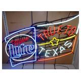 Miller Light Flag True To Texas Neon  46 x 39