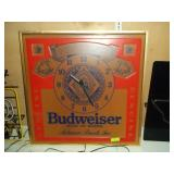 "Budweiser Clock - Lighted - Works - 36"" x 36"""