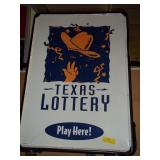 Metal Texas Lottery Spring Footed Dbl Sided Sign