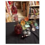 wine decanter, very heavy and cut pattern glasses