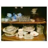 Glassware and Decor in Cabinet