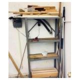 Metal Shelf with Wood Pieces and Poles