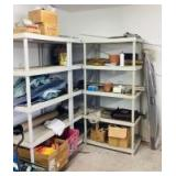 3 Plastic Shelves and Garage Assortment