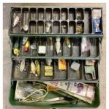 Vintage My Buddy Metal Tackle Box with Fishing Tackle