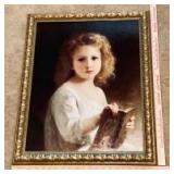 Framed Art on Canvas - Girl with Book