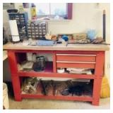 Red Work Bench with Garage Assortment