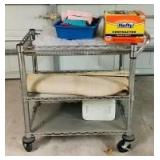 Rolling Wire Shelf and Contents