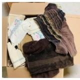 Box of Kitchen Towels and Linen
