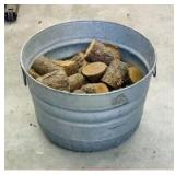 Galvanized Tub with Wood Pieces