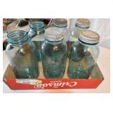 Blue Canning Jars, 1/2 Gallon, 6 ,4 lids