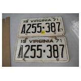 Car Tag Set, Virginia,Set, 1971