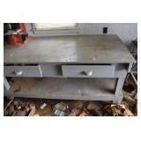 Extraordinary Work Bench, on casters, 2 large draw
