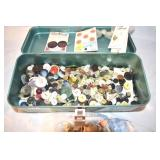 Tool Box, 1/2 full of old buttons, very vintage