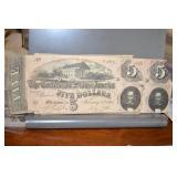 Confederate Currency, $ 5, 2- tough bills, D&E