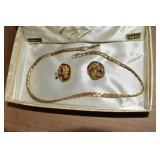Vintage Set, GP, Necklace & Screwback earrings